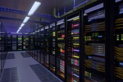 Working data center interior. Concept of hosting, computer cluster, supercomputer, virtual servers, digital cloud or mining crypto currency farm Royalty Free Stock Photos