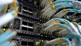 Working data optical servers with flashing LED lights. stock video