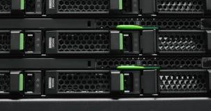 Server rack cluster in a data center. Supercomputer. Network servers in a data center. Working data servers. Server rack cluster in a data center stock footage