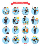Working Day Busy Template Collection on White. Working day busy template vector collection on white. Man work hard during day, earns money, present charts, have Stock Photography