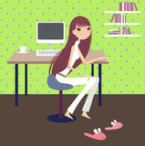 Working day at home Royalty Free Stock Images