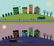 Working day. Illustration with city and car Royalty Free Stock Photo