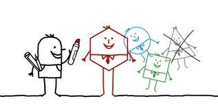 Working designer. Hand drawn cartoon characters - working designer stock illustration