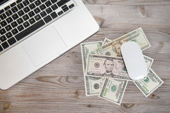 Working desk with money Royalty Free Stock Photo