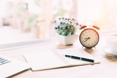 Working desk with pen royalty free stock photography