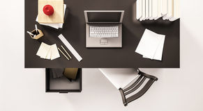 Working desk space, top view, with computer laptop, paper work, books, chair, opened drawer, apple and etc., 3d rendered. Working desk space, top view, with Royalty Free Stock Photos