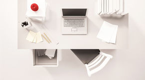 Working Desk Space, Top View, With Computer Laptop, Paper Work, Books, Chair, Opened Drawer, Apple And Etc., 3d Rendered Royalty Free Stock Photo