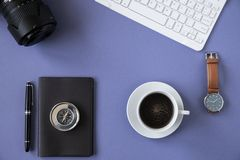 Working desk top view with personal objects royalty free stock photography