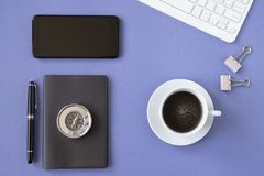 Working desk top view with personal objects royalty free stock photos