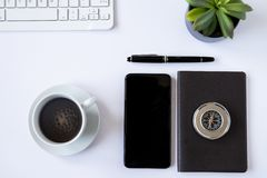 Working desk top view with personal objects royalty free stock images