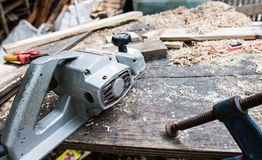 The working desk in wood workshop, Wood craft. Wood craft, table for Shave wood at workshop Royalty Free Stock Photos
