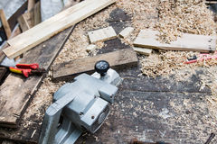 The working desk in wood workshop, Wood craft. Wood craft, table for Shave wood at workshop Royalty Free Stock Images