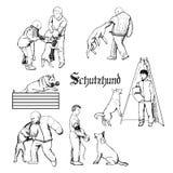 Working dog sketches. Schutzhund dog sport training illustration. Hand drawn dog trainers in action. Dog sport equipment Royalty Free Stock Image