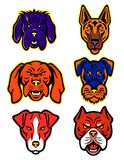 Working Dogs Mascot Collection Set. Mascot icon illustration set of heads of working or hunting dogs like the German Shepherd, Hungarian Vizsla, Jagdterrier Royalty Free Stock Photo