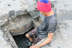 Working for drain cleaning Royalty Free Stock Photography