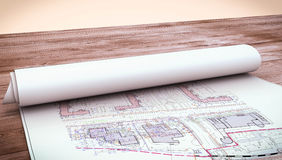 Working drawings on a wooden table Stock Photo