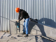 Worker with jackhammer Royalty Free Stock Photography