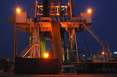 Working drilling rig in night