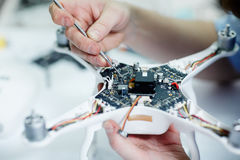 Working on Drone Circuit Board Royalty Free Stock Photo