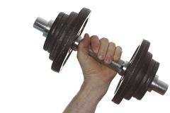 Working with a dumbbell Stock Photo