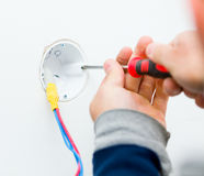 Working Electrician Royalty Free Stock Image