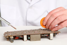 Working electronics repairing board Stock Photography