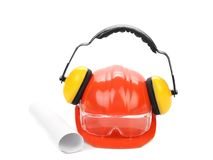 Working equipment for architects. Isolated on a white backgropund royalty free stock photography