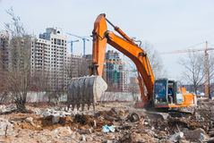 Working excavator Stock Images