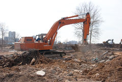 Working excavators Royalty Free Stock Images
