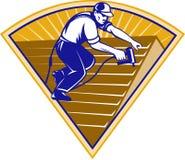 working för arbetare för takroofer taklägga stock illustrationer