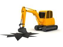 working för grävare för bakgrund 3d orange vit stock illustrationer