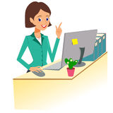 working för kvinna för affärskontor Teckenvektorillustration, vektor illustrationer