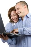 working för kvinna för affärsman tillsammans Arkivfoto