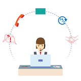 working för kvinna för felanmälansmitt serviceservice för illustration 3d Fotografering för Bildbyråer
