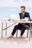 Working far away from office. Royalty Free Stock Photo