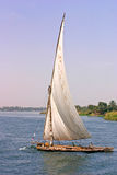 Working Felucca sailing on the river Nile. An Egyptian working felucca sailing on the river on the Nile Stock Images