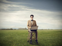 Working in a field Royalty Free Stock Image