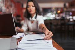 Working with financial documents Stock Image