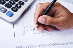 Working on financial report stock photo
