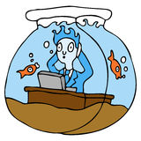 Working In A Fish Bowl. An image of a employee working in a fish bowl Stock Photo