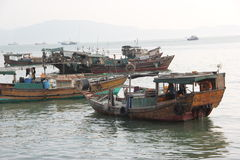 The working fishing boats in SHENZHEN Royalty Free Stock Image