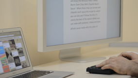 Working at Flat Desk at computer with Modern stock footage
