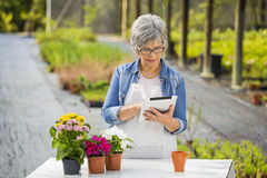 Working in a flower shop. Beautiful mature woman working in a greenhouse holding flowers and taking notes in a tablet Stock Photos