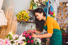Working at flower shop royalty free stock images