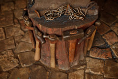Working forge of the blacksmith in old shop. Retro Stock Image