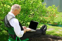 Working in free nature Royalty Free Stock Photo