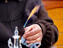 Working with the gas burner. Glasswork process with the gas burner Stock Image