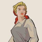Working girl. Blue-eyed russian young working girl retro illustration Stock Images