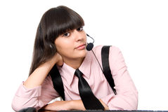 Working Girl with headphones and microphone Royalty Free Stock Photo