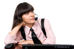 Working Girl with headphones and microphone Royalty Free Stock Photography